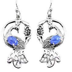 4.51cts natural blue tanzanite 925 silver dangle peacock earrings d31534