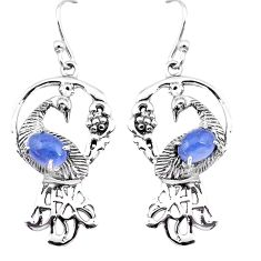 4.70cts natural blue tanzanite 925 silver peacock earrings jewelry d31533