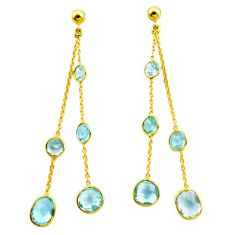 14.90cts natural blue topaz 925 silver 14k gold chandelier earrings p87433