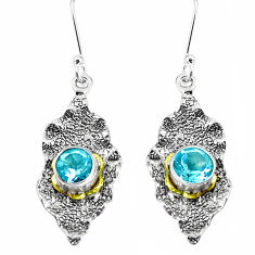 2.81cts natural blue topaz 925 sterling silver 14k gold dangle earrings p50223