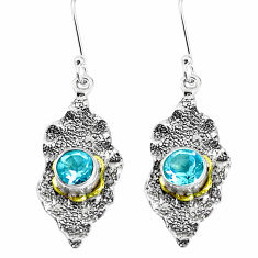 2.69cts natural blue topaz 925 sterling silver 14k gold dangle earrings p50225