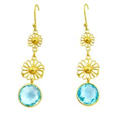 12.48cts natural blue topaz 925 sterling silver 14k gold dangle earrings p87340