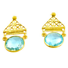 13.57cts natural blue topaz 925 sterling silver 14k gold dangle earrings p87398
