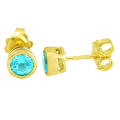 1.84cts natural blue topaz 925 sterling silver 14k gold stud earrings c3768