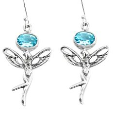4.53cts natural blue topaz 925 sterling silver angel wings fairy earrings p38483