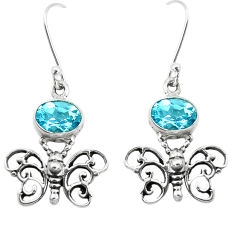 4.71cts natural blue topaz 925 sterling silver butterfly earrings jewelry p38461