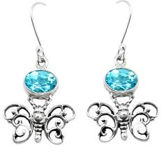 4.93cts natural blue topaz 925 sterling silver butterfly earrings jewelry p38493