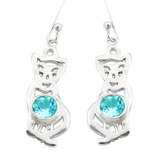 2.28cts natural blue topaz 925 sterling silver cat earrings jewelry p40250