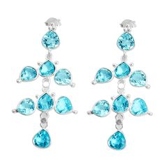 13.64cts natural blue topaz 925 sterling silver chandelier earrings p43885