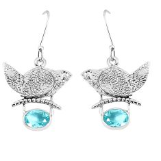 3.15cts natural blue topaz 925 sterling silver dangle earrings jewelry p37785