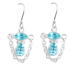 5.64cts natural blue topaz 925 sterling silver dangle earrings jewelry p45677
