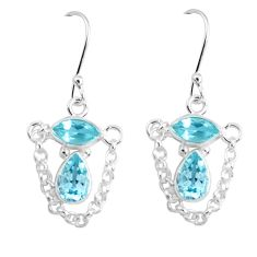 6.29cts natural blue topaz 925 sterling silver dangle earrings jewelry p45679