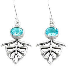 3.98cts natural blue topaz 925 sterling silver dangle earrings jewelry p50752