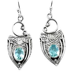 3.13cts natural blue topaz 925 sterling silver dangle earrings jewelry p57602