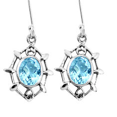 6.80cts natural blue topaz 925 sterling silver dangle earrings jewelry p58170