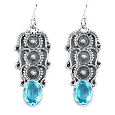 4.46cts natural blue topaz 925 sterling silver dangle earrings jewelry p59945