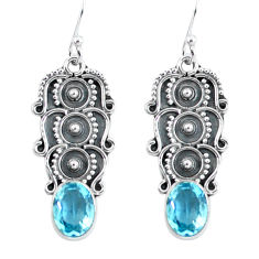 4.46cts natural blue topaz 925 sterling silver dangle earrings jewelry p59948