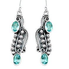 4.70cts natural blue topaz 925 sterling silver dangle earrings jewelry p59961