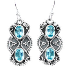 4.07cts natural blue topaz 925 sterling silver dangle earrings jewelry p60021