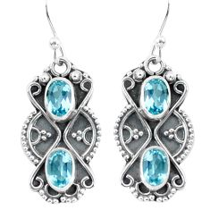 4.26cts natural blue topaz 925 sterling silver dangle earrings jewelry p60023