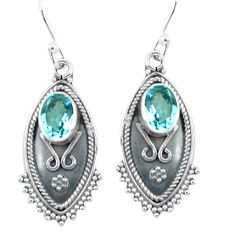 3.93cts natural blue topaz 925 sterling silver dangle earrings jewelry p60049