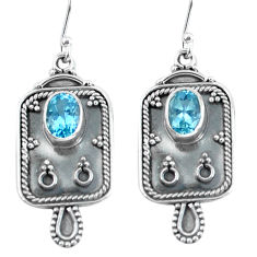 3.41cts natural blue topaz 925 sterling silver dangle earrings jewelry p60062