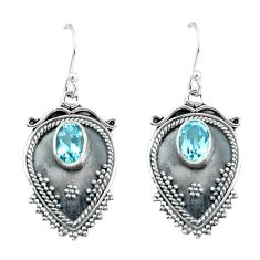 3.19cts natural blue topaz 925 sterling silver dangle earrings jewelry p60081