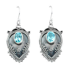 3.52cts natural blue topaz 925 sterling silver dangle earrings jewelry p60082
