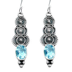 4.18cts natural blue topaz 925 sterling silver dangle earrings jewelry p60104
