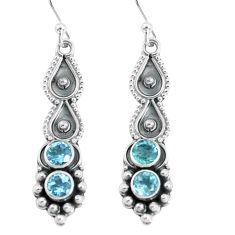 2.44cts natural blue topaz 925 sterling silver dangle earrings jewelry p60137