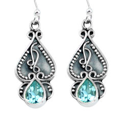 2.98cts natural blue topaz 925 sterling silver dangle earrings jewelry p60161
