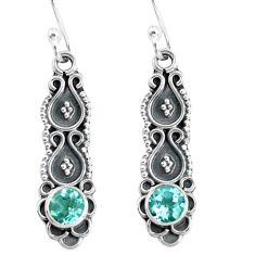 1.21cts natural blue topaz 925 sterling silver dangle earrings jewelry p60205