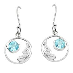 1.73cts natural blue topaz 925 sterling silver dangle earrings jewelry p62563