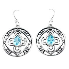 3.40cts natural blue topaz 925 sterling silver dangle earrings jewelry p64825