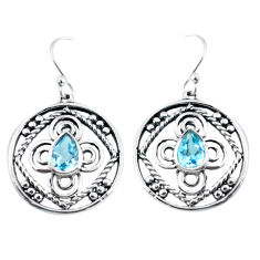 3.41cts natural blue topaz 925 sterling silver dangle earrings jewelry p64826