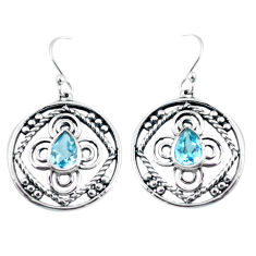 3.58cts natural blue topaz 925 sterling silver dangle earrings jewelry p64827
