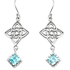 5.54cts natural blue topaz 925 sterling silver dangle earrings jewelry p73612