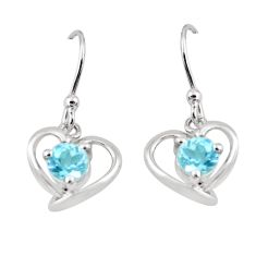 2.22cts natural blue topaz 925 sterling silver dangle heart earrings p62428