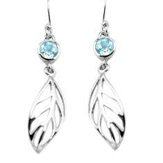 1.87cts natural blue topaz 925 sterling silver deltoid leaf earrings p84157