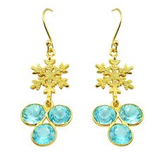 14.25cts natural blue topaz 925 sterling silver gold snowflake earrings p87375