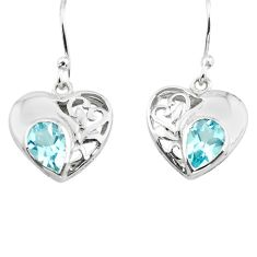 4.28cts natural blue topaz 925 sterling silver heart love earrings p73630