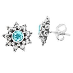 2.09cts natural blue topaz 925 sterling silver stud earrings jewelry p48846