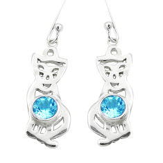 2.36cts natural blue topaz 925 sterling silver two cats earrings jewelry p60756