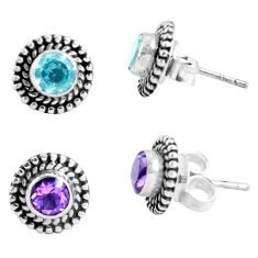 3.16cts natural blue topaz amethyst 925 sterling silver stud earrings p48830