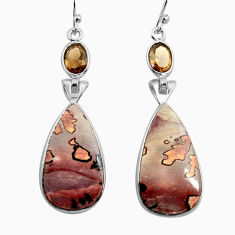 16.68cts natural brown coffee bean jasper 925 silver dangle earrings p78576