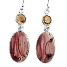 18.39cts natural brown coffee bean jasper 925 silver dangle earrings p78578