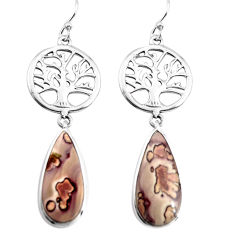 13.15cts natural brown coffee bean jasper silver tree of life earrings p91855