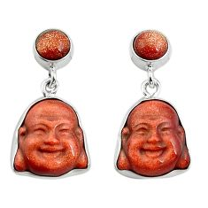 16.73cts natural brown goldstone 925 silver buddha charm earrings p78200