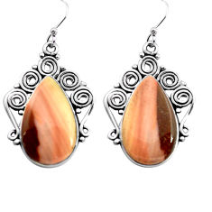 20.33cts natural brown imperial jasper 925 silver dangle earrings jewelry p72614