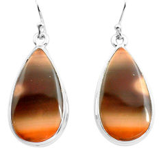 21.48cts natural brown imperial jasper 925 silver dangle earrings jewelry p72774